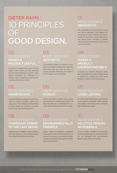 Dieter Rams: 10 Principles of Good Design — itchban Design Page, Graphisches Design, Design Blog, Graphic Design Tutorials, Tool Design, Graphic Design Inspiration, Game Design, Design Process, What Is Graphic Design