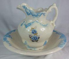 Vintage Handmade Wash Basin & Pitcher Large Big Ceramic Flower Rose Design Bowl.