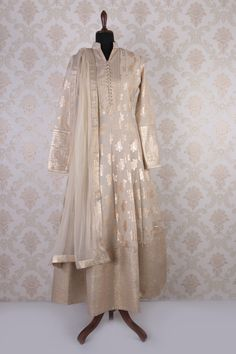 #Cream & #gold jute #cotton full sleeves classy #anarkali with chinese collar -SL4349