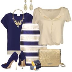 Navy and Gold by josi-d on Polyvore featuring polyvore, fashion, style, Christian Dior, Reiss, By Malene Birger, Nicholas Kirkwood, Jean-Paul Gaultier, Aspinal of London and Blu Bijoux