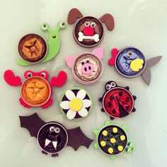 Animal fridge magnets made with recycled nespresso capsules Diy And Crafts Sewing, Crafts For Girls, Crafts To Sell, Diy For Kids, Diy Crafts, Dosette Nespresso, Recycling, Projects To Try, Handmade