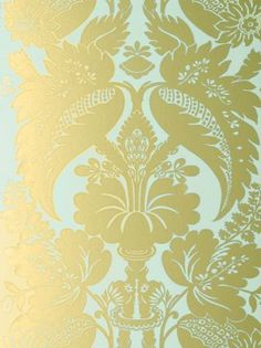Anna French Glamour Tyntesfield Duck Egg Blue and Gold - TYNWP078 Wallpaper