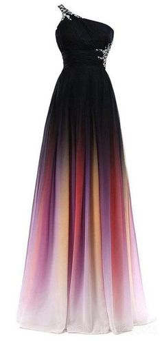 3e0c594a34c One Shoulder Beaded Chiffon Ombre Long Evening Prom Dresses