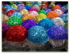 EDIBLE GLITTER!!!  Baker's Tip: 1/4 cup sugar and 1/2 teaspoon of food coloring mixed, bake 10 min. in oven on 350* to make edible glitter.