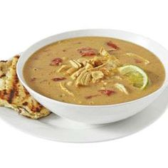Curry Coconut-Peanut Soup with Rotisserie Chicken