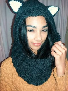 Knitted Cowl with Hood. Cat ears if you want. R300. Sylvia 071 287 1460. On Facebook @craftygeck0