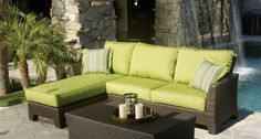 Malibu Resin Wicker Outdoor Seating Set Patio Sectional Sofa Furniture w/ Sunbrella Cushions by Max Stores. $2149.00. This is NOT painted wicker, it will never crack or peal unlike other stained wicker. 3 Year Warranty. We only use the best of the best 100% Outdoor Fabric. Item(s) Included : Sofa + Right side Chase lounge. Cushion fabric is Acrylic treated to resist water, stains and oil.. Frame: Aluminum & Fabric: Sunbrella Acrylic. Finish: Java     Frame: Aluminum     Wicker...