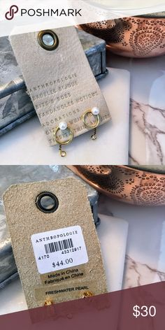 Anthropologie delicate Gold and Pearl Hoops Sweet freshwater pearl posts with gold hoop, gold chain with small crystal dangles behind the ear! NWT! Anthropologie Jewelry Earrings