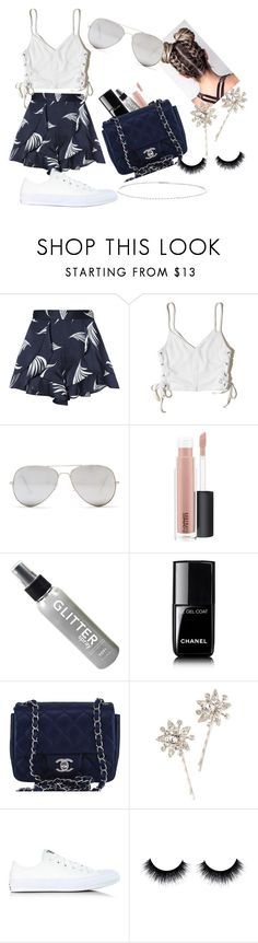 """Spring into summer"" by stylishsyd ❤ liked on Polyvore featuring C/MEO COLLECTIVE, Hollister Co., Sunny Rebel, MAC Cosmetics, Chanel, Jennifer Behr, Converse and Suzanne Kalan"