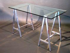 1970s Polished Aluminum & Glass Trestel Desk $2,200