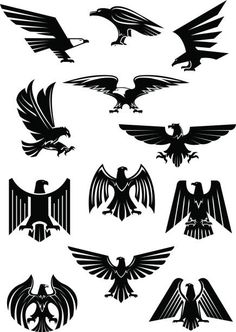 Heraldic eagle and hawk, falcon badge. Aquila with wide opened wing tattoo, bird as insignia of power and freedom, american patriotism symbol. Retro heraldry or historical culture, military or war. Free Vector Graphics, Free Vector Art, Eagle Wing Tattoos, Tattoo Eagle, Historical Tattoos, Eagle Drawing, Eagle Vector, Eagle Art, Eagle Wings