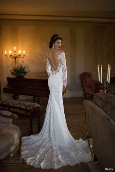 berta 2015 off shoulder illusion long sleeve trumpet sheath lace wedding dress back view train
