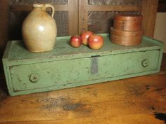 Awesome Early Old Large Wooden Primitive Drawer Unit ~ Old Blue/Green Paint   $169