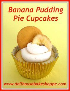 Banana Pudding Pie Cupcakes {Small Batch - Yield 8}
