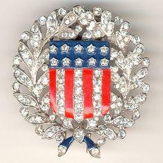Trifari 'Alfred Philippe' WW2 US Patriotic Laurel and Oak Leaves with ...