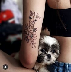Who is Cuter The Little Human, the Dog or The Giraffe Tattoo - Who is Cuter The Little Human, the Dog or The Giraffe Tattoo tattoos - Forarm Tattoos, Bff Tattoos, Dream Tattoos, Body Art Tattoos, Celtic Tattoos, Small Side Tattoos, Small Girly Tattoos, Girraffe Tattoo, Small Giraffe Tattoo