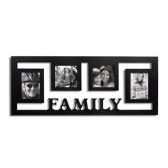 Adeco Decorative Black Wood Wall Hanging 'Family' Floating Collage 3.5x5 / 4x4 Photo Frame with 4 Openings | Overstock.com Shopping - The Best Deals on Photo Frames & Albums