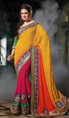 Create a smoldering affect by  this orange, fuchsia and yellow viscose chiffon half n half saree. The interesting butta, lace, resham and stones work a significant feature of this attire. #BestDesignTrendsetterSaree
