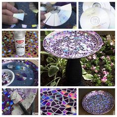 Create some stunning artwork for your garden today!   Make a mosaic birdbath from old DVDs-->  http://wonderfuldiy.com/wonderful-diy-dvd-mosaic-birdbath/