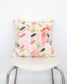 Pink & Orange Herringbone Pillow Cover by Yao Cheng Design