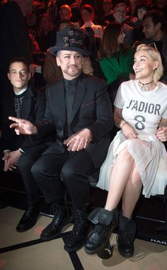Rami Malek, Boy George & Paris Jackson from Party Pics: Global  The three have front row seats at the Dior Homme Menswear show during Paris Fashion Week.