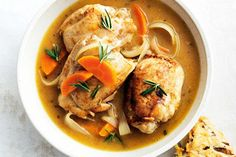This delightful chicken fricassee is best mopped up with fresh homemade mushroom scones.