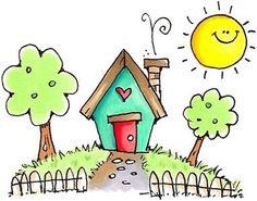 New House Art Illustration Ideas 53 Ideas Art Drawings For Kids, Doodle Drawings, Cute Drawings, Doodle Art, Art For Kids, Crafts For Kids, House Drawing For Kids, Karten Diy, Watercolor Cards