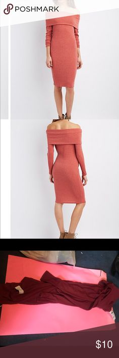 """Robbed off the shoulder sweater dress Soft sweater knit forms the ultimate ribbed look, with a fold-over panel, that creates that sexy off-the-shoulder trend that's totally hot! Long sleeves make this body-hugging dress extra cozy!  Product Fit: Model is wearing size small. Size small measures 37"""" from top to hem. Charlotte Russe Dresses Long Sleeve"""