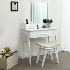 SEA232 - Masă de toaletă - http://www.emobili.ro/cumpara/sea232-set-masa-alba-toaleta-cosmetica-machiaj-oglinda-masuta-makeup-994 #eMobili