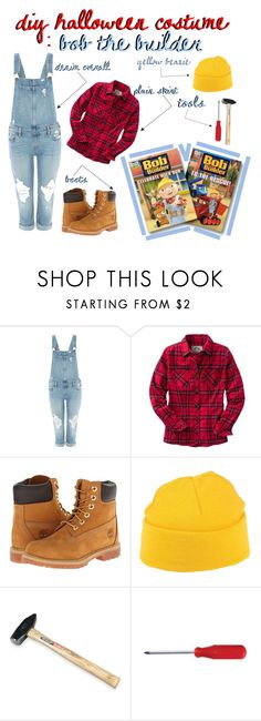 """diy hallowwen costume: bob the builder"" by m-okapalova ❤ liked on Polyvore featuring Paige Denim, Timberland, (+) PEOPLE and diycostume"
