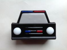 Police Car Cop Car Stained Glass Business Card Holder by LaGlasSea