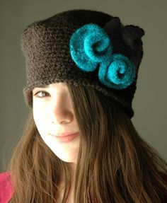 Heather Gray Crochet Cloche with Felted Flowers.