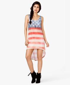 High-Low American Flag Dress, super cute 4th of July dress /swimsuit cover up