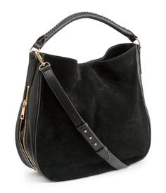 Classic black hobo-style handbag in imitation leather with a genuine suede front section.  One short shoulder strap, one long, adjustable strap. Gold-tone hardware. | H&M Accessories