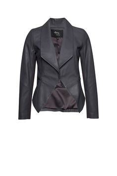Another shade to add to your collection. We've taken our classic drape front leather jacket and switched it to a shadow grey shade with a drape front, and side pocket zip details. Pair with grey wash Grey Wash, Girls Night Out, Leather Jacket, Blazer, Jackets, Clothes, Collection, Fashion, Girls Night In