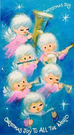 Christmas Joy. Angel Orchestra. Vintage Christmas Card. Retro Christmas Card.