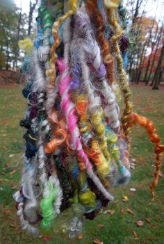 Pretty Tidbits Handspun Yarn Lockspun Tailspun by RainbowTwistShop