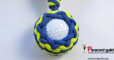 Golf ball paracord key fob pattern- blue and yellow.