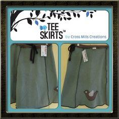 Warm cozy upcycled sweatshirt Tee Skirt by Cross Mills Creations Http://Facebook.com//teeskirtsTMbycrossmillscreations
