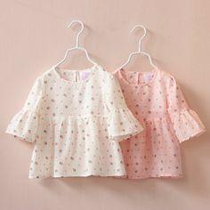 Novo 2015 primavera verão moda meninas blusas bebê Trumpet meia manga de impressão lazer camisas de algodão crianças princesa Tops