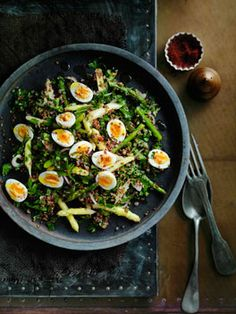 red quinoa, asparagus, and egg salad with anchovy-lemon vinaigrette.