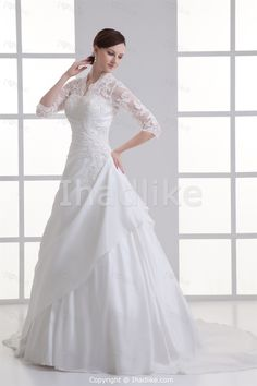 Ivory Taffeta/Lace Ball Gown 3/4 Length Sleeves V-neck Wedding Dresses 2014 -Wedding Dresses