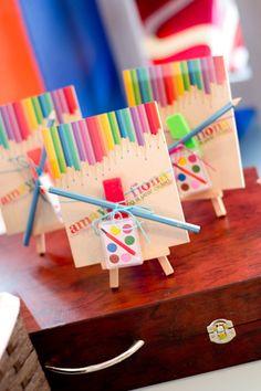 Photo 17 of Art (Rainbow) / Birthday Amaya and Fionas Art Party Art Party Favors, Art Party Invitations, Craft Party, Party Gifts, Birthday Invitations, Rainbow Birthday Party, Art Birthday, Birthday Party Themes, Theme Parties