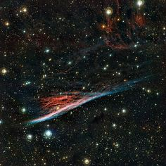 The Pencil Nebula, a strangely shaped leftover from a vast explosion. Image…