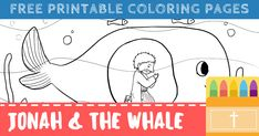 Free Printable Jonah and the Whale Coloring Pages Whale Coloring Pages, Free Printable Coloring Pages, Free Printables, Jonah And The Whale, Religious Education, Bible Verses, Preschool, Scripture Verses, Religion