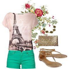 spring fashion green paris tee