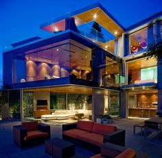 Architecture, Terrific Glass House With Awesome Red Outdoor Sofa And Fancy Concrete Floor Exposed: Amazing Luxury Glass House Design Ideas Big Houses, Glass Houses, Dream Houses, Dream Mansion, Big Modern Houses, Modern Mansion, Modern Deck, Fancy Houses, Modern House Design