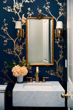 Powder Room Palettes: 10 Handsome Dark Blues 💙💙💙 Blue is the New Black Powder Room Paint, Blue Powder Rooms, Powder Room Wallpaper, Modern Powder Rooms, Powder Room Decor, Powder Room Lighting, Powder Room Design, Bathroom Lighting, Dark Blue Rooms