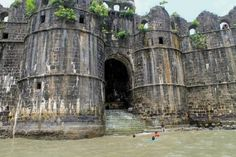 """"""" The abandoned sea fort of Murud-Janjira, built in the century off India's Maharashtrian coast. Its name actually means """"island-island"""", since it conjoins the Konkani word """"morod"""" with the Arabic """"jazeera"""", both meaning island. Old Fort, India Travel, Incredible India, Abandoned Places, 17th Century, Location History, Places To Travel, Coast, Around The Worlds"""