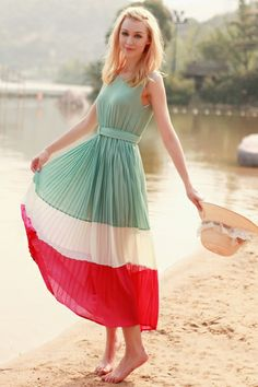 Block Colored Sleeveless Pleated Ankle Length Dress... Spring and Summer hurry up please!